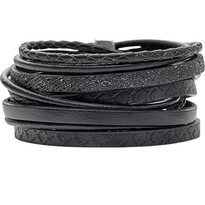 Selma Multi Strand Black Calf Leather Wrap Bracelet - 004-02064$115