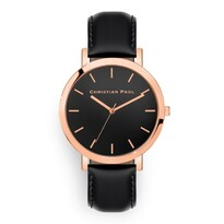 RAW Rose Gold Black Leather Watch w/ Black Face - Christian Paul042-00676$229