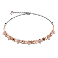 Pink Swarovski, Pearl & Rose S/Steel Necklace - 028-01565$379
