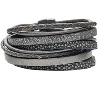 Selma Multi Strand Grey Calf Leather Wrap Bracelet  - 004-02065$115