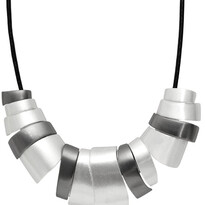 Vanessa Abstract Leather Silver/Hematite Necklace - 028-01998$129